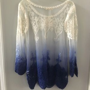 NWT Simply Couture White Navy Sheer Top Blouse L